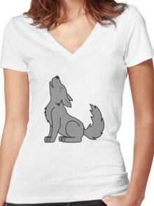 Solid Gray Howling Wolf Pup Women's Fitted V-Neck T-Shirt