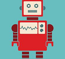 Robot graphic (Red on blue) by janna barrett