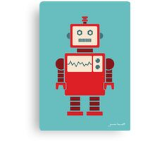 Robot graphic (Red on blue) Canvas Print