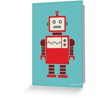 Robot graphic (Red on blue) Greeting Card
