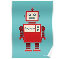 Robot graphic (Red on blue) Poster