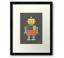 Robot graphic (Orange & blue on gray) Framed Print