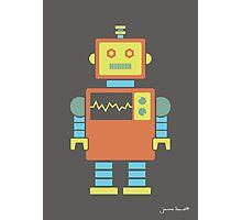 Robot graphic (Orange & blue on gray) Photographic Print