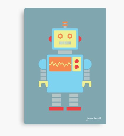 Robot graphic (Primary colors on blue) Canvas Print