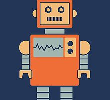 Robot graphic (Orange on navy) by Janna Barrett