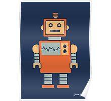 Robot graphic (Orange on navy) Poster