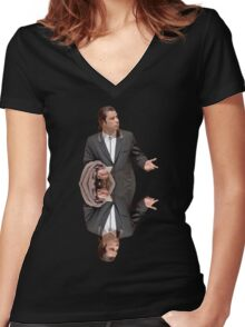 Confused Travolta Women's Fitted V-Neck T-Shirt