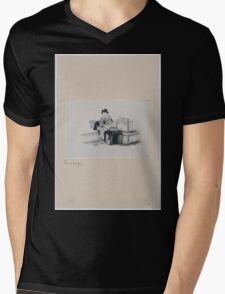 A Japanese woman with one shoe  geta off  to operate spinning machine spinning silk from silkworm cocoons 001 Mens V-Neck T-Shirt