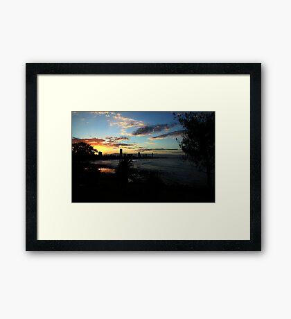 Sunset Silhouettes Burleigh Heads Framed Print