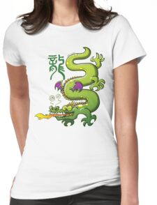 Chinese Dragon Breathing Fire Womens Fitted T-Shirt
