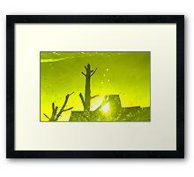City After Rain (yellow-green) Framed Print