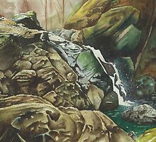 Independence Trail stream, North California - watercolour by Gee Massam