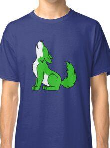 Green Howling Wolf Pup Classic T-Shirt