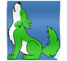 Green Howling Wolf Pup Poster