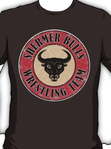 Shermer Bulls Wrestling Team (White Border) T-Shirt