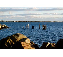 dock claimed by the sea Photographic Print