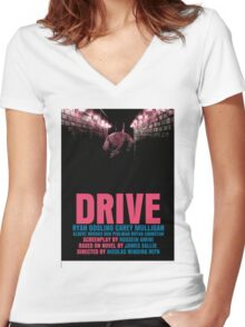Drive Movie Poster Women's Fitted V-Neck T-Shirt