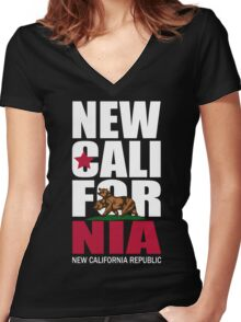 New California Republic Women's Fitted V-Neck T-Shirt