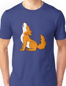 Orange Howling Wolf Pup Unisex T-Shirt