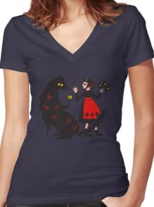 What's the time, Mr Wolf Women's Fitted V-Neck T-Shirt