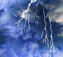 lightening from a cloudy stormy sky by morrbyte
