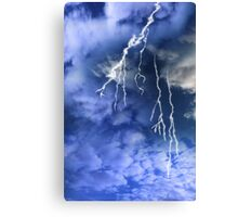lightening from a cloudy stormy sky Canvas Print