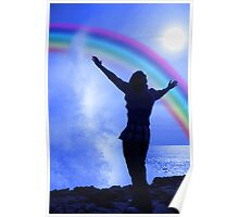 silhouette of woman with outstretched arms in awe at the power of nature Poster