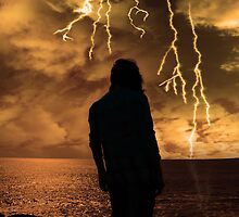woman looks out at storm as if life's just to much by morrbyte