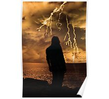 woman looks out at storm as if life's just to much Poster