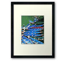 Phewa Tal Rowboats Framed Print