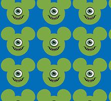 Mickey Mouse dressed as Mike Wazowski by sweetsisters
