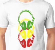 Rasta Colors Head Phones Stencil Style Unisex T-Shirt