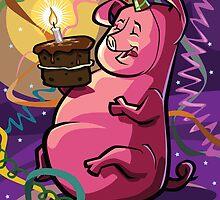 Cartoon Fat Little Birthday Pig vector illustration by martyee