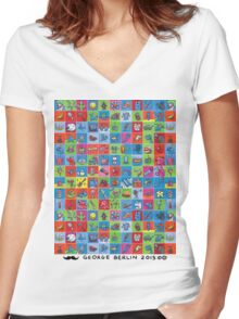 100 Tiny Paintings! Women's Fitted V-Neck T-Shirt