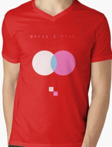 White & Pink Mens V-Neck T-Shirt