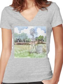 Windpomp in South Africa Women's Fitted V-Neck T-Shirt