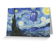 The Doctor Meets Van Gogh's Starry Night - Vincent Van Gogh Meets The Doctor Greeting Card