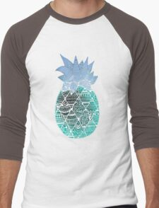 Pineapple: White/Blue Men's Baseball ¾ T-Shirt