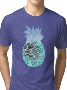 Pineapple: White/Blue Tri-blend T-Shirt