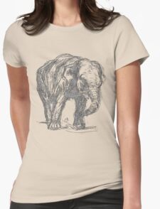 Vintage Elephant Illustration Womens Fitted T-Shirt