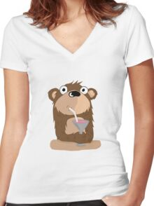 Cocktail Bear Women's Fitted V-Neck T-Shirt