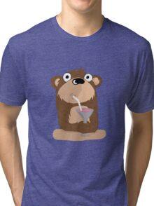 Cocktail Bear Tri-blend T-Shirt