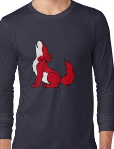 Red Howling Wolf Pup Long Sleeve T-Shirt