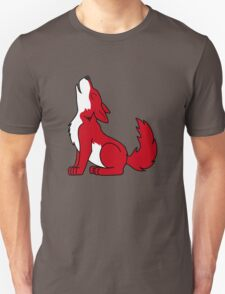 Red Howling Wolf Pup Unisex T-Shirt
