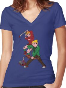 Red Riding Hood and Robin Hood: The Zombie Killing Hoods Women's Fitted V-Neck T-Shirt