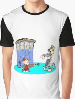 Calvin and Hobbes Doctor Who Graphic T-Shirt