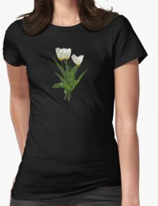 Backlit White Tulip Womens Fitted T-Shirt