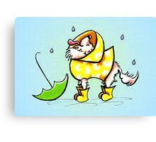 Longhair Chihuahua Fun with Raindrops Off-Leash Art™ Canvas Print