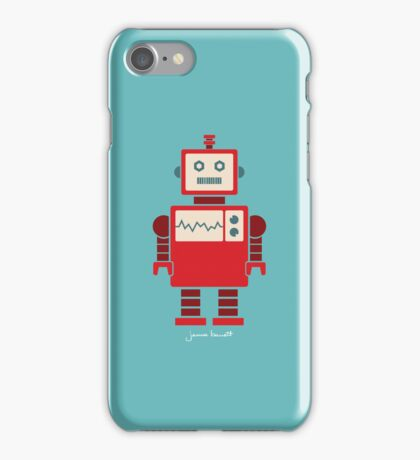Robot graphic (Red on blue) iPhone Case/Skin