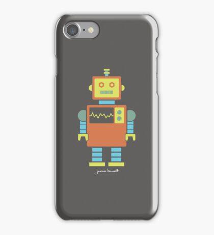 Robot graphic (Orange & blue on gray) iPhone Case/Skin